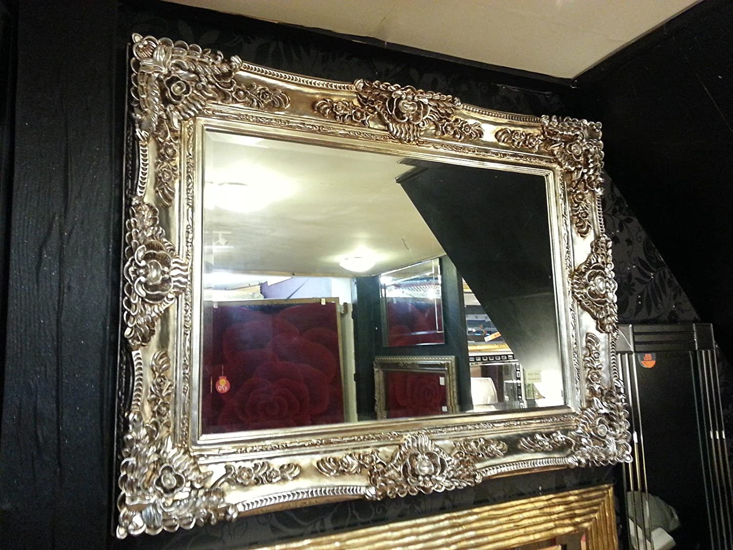 Antique Champagne Silver Ornate Vintage French Beveled Wall Mirror 130x103cm New Amazon Co Uk Kitchen Home