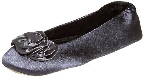 ISOTONER Women's Rosette Satin Ballerina Slippers