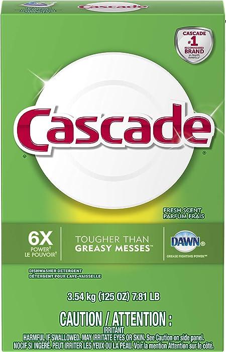 Cascade Powder Dishwasher Detergent, Fresh Scent, 125 ounces