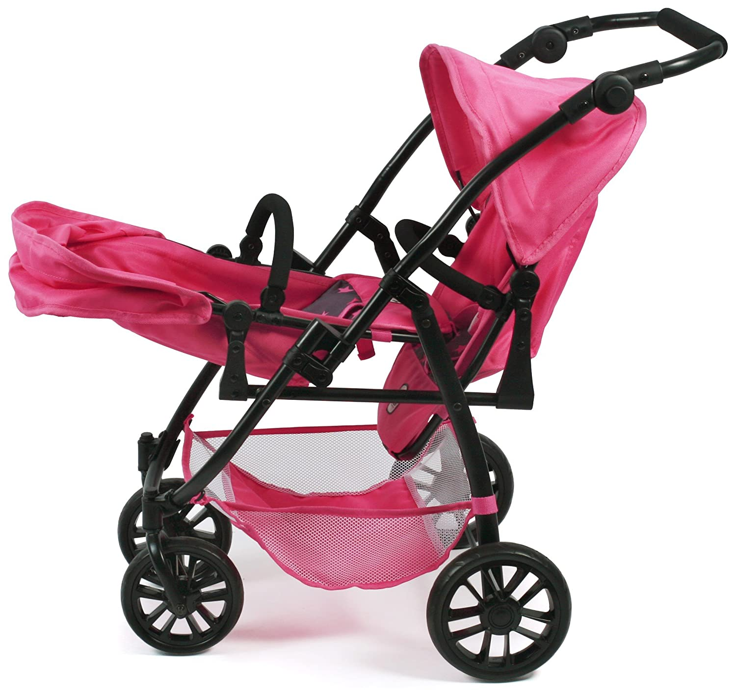 Amazon.com: Bayer Chic 2000 689 82 Tandem Buggy Vario, Twin Dolls Pram, Stars Pink: Toys & Games