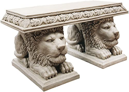 Design Toscano NG31140 Grand Lion of St. John's Square Sculptural Bench,Gothic Stone
