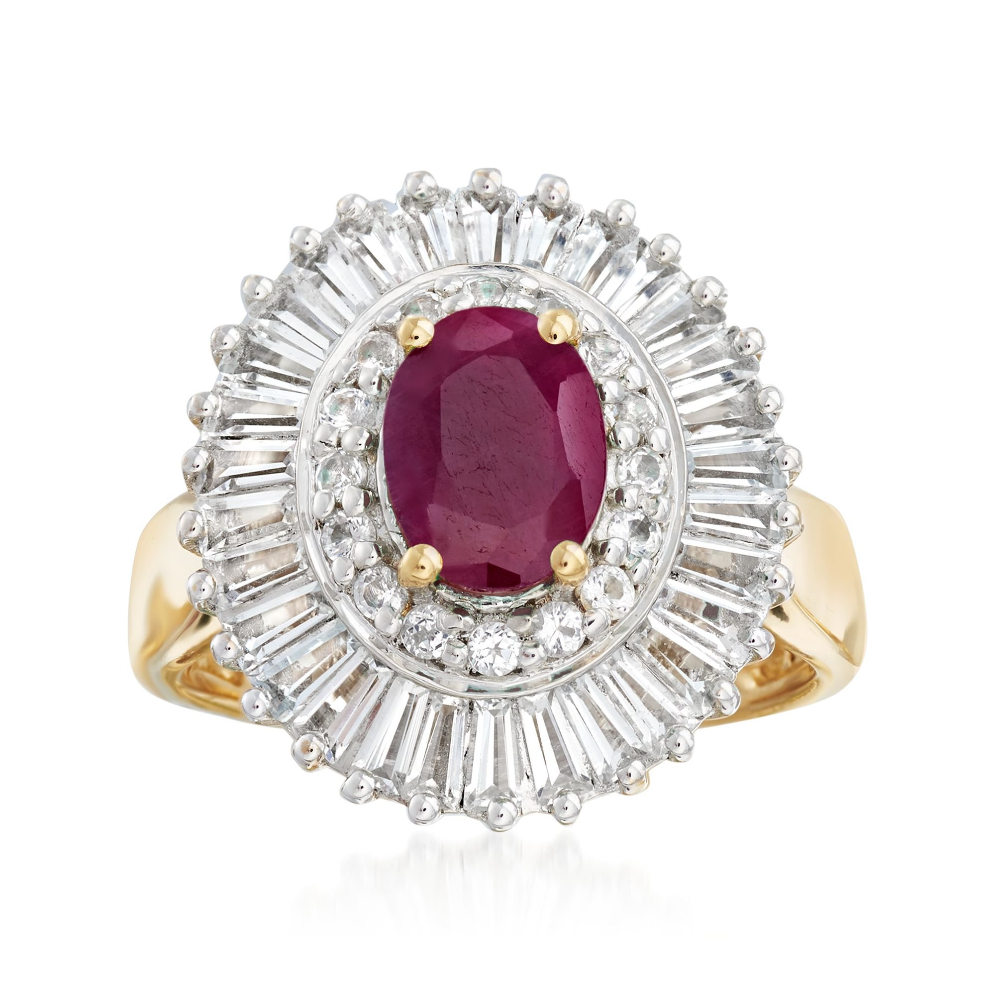 Ross-Simons 1.50 Carat Ruby and 2.00 ct. t.w. White Topaz Ring in 18kt Gold Over Sterling