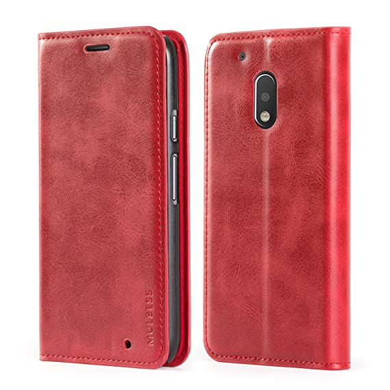 pretty nice 7e351 60516 Motorola Moto G4 Play Case,Mulbess PU Leather Wallet Case with Kickstand  for Lenovo Motorola Moto G4 Play [5.0 inch],Wine Red