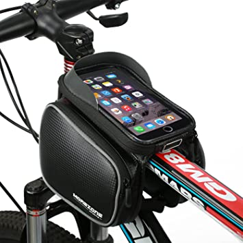 morezone bicycle tube frame bag cycling pannier waterproof mobile phone screen touch holder for iphone 7