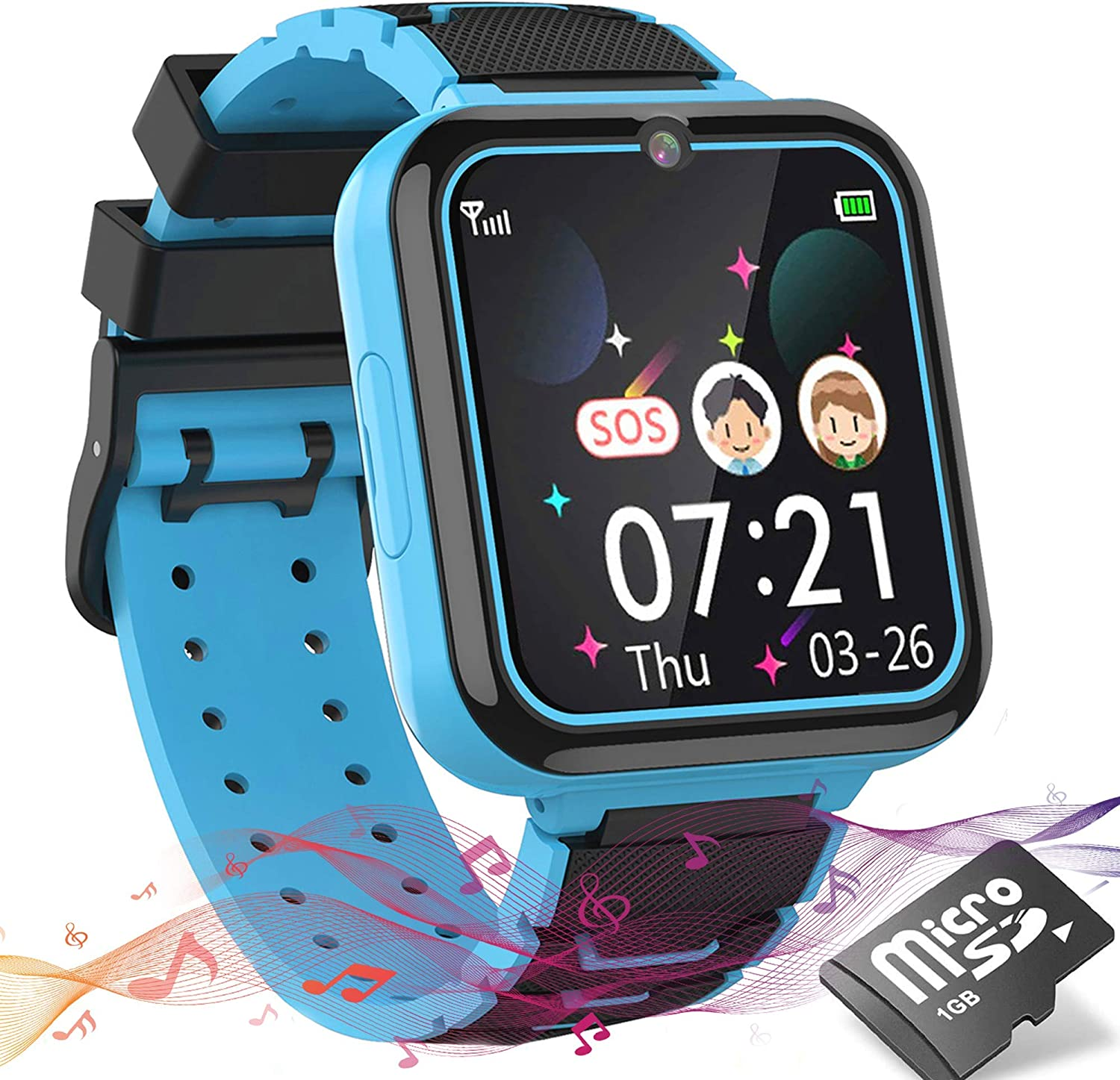 Kids Smart Watch for Boys Girls, HD Touch Screen Smart Watches Phone for Kids with Games Music Player Two-Way Call SOS Flashlight Calculator Recorder Alarm Clock, for 3-14Y (Blue)