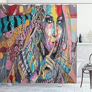 Ambesonne Modern Art Shower Curtain, Fine Art Illustration Girl with Dreamcatcher and Murky Oriental Bohemian Paint, Cloth Fabric Bathroom Decor Set with Hooks, 75