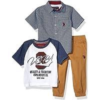 U.S. Polo Assn. Playera de Manga Corta Estampada, Playera y Juego de Jogger Juego de Pantalones para Niños