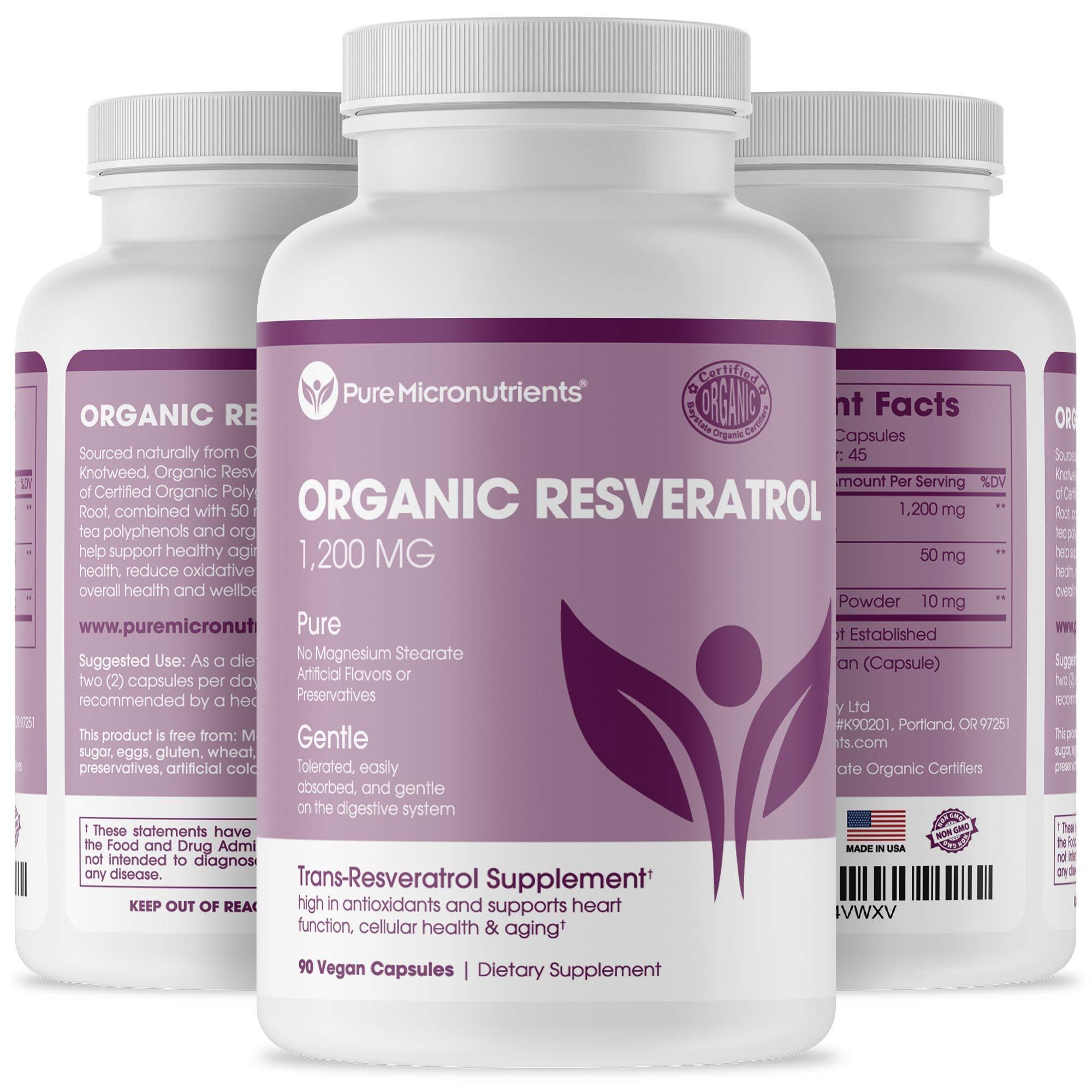 Organic Resveratrol Supplement 1200mg - Extra Strength Formula for Maximum Anti Aging, Immune & Heart Health - 90 Vegan Capsules with Trans-Resveratrol, Green Tea Leaf & Black Pepper