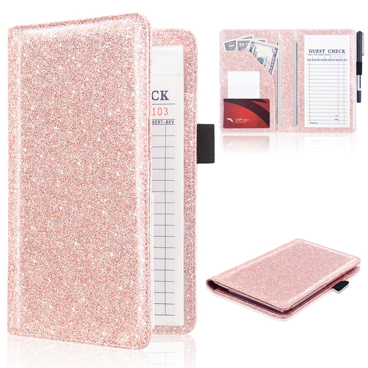Server Book (2020 Edition), ACdream Waiter Book Server Wallet Server Pads Waitress Book Restaurant Waitstaff Organizer, Guest Check Book Holder Money Pocket Fit Server Apron, Glitter Rose Gold