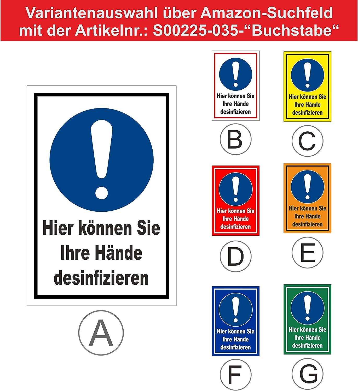 20 VAR S00225-035-D 30x20cm Melis Folienwerkstatt Schild H/ände desinfizieren 3mm Aluverbund