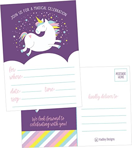 25 Unicorn Rainbow Party Invitations For Kids Teens Adults Boys Girls Blank Children Happy 1st Birthday Invitation Cards Unique Baby First Bday