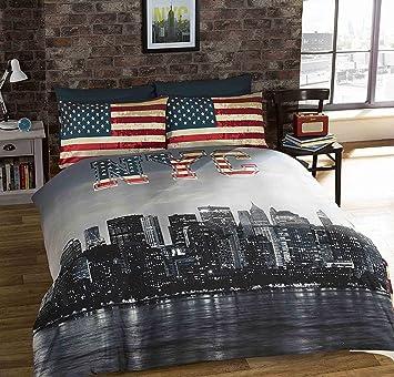 urban unique new york city distressed vintage reversible nyc photo impression housse de couette multicolore unique