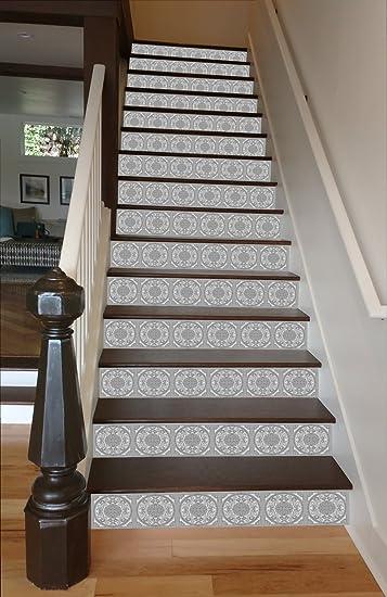 Grey Mosaic Tile RiserArt 37u0026quot; X 14 Painted Stairway Decoration  Adhesive Vinyl Stair Riser Panels
