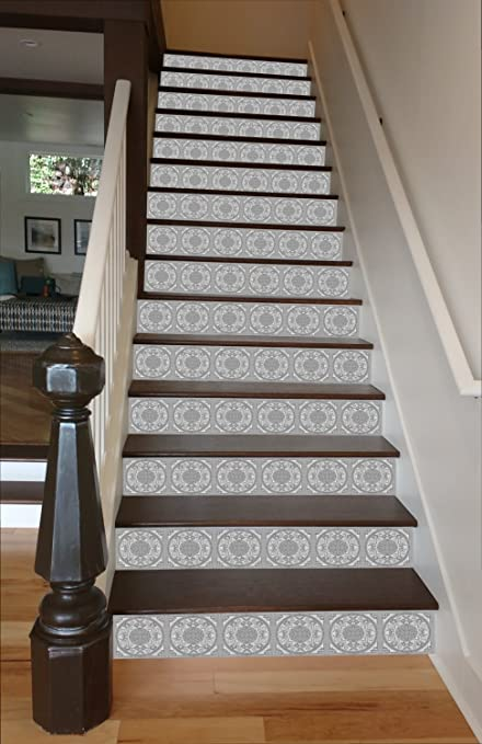 Grey Mosaic Tile RiserArt 37u0026quot; X 14 Painted Stairway Decoration  Adhesive Vinyl Stair Riser Panels
