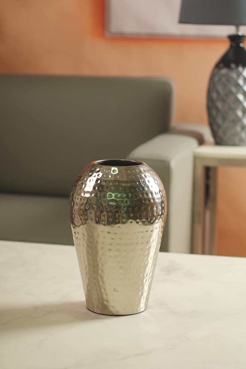 """Hosley 10"""" High Hammered Iron Floor Vase. Handcrafted by Artisans Using Centuries Old Hammer Pattern Techniques. Ideal Wedding Gift, Decor, Aromatherapy or Spa Settings O3"""