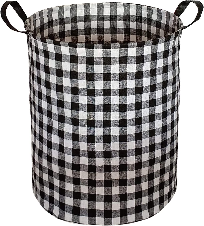 KUNRO Large Sized Storage Basket Waterproof Coating Organizer Bin Laundry Hamper for Nursery Clothes Toys (Black Grid)