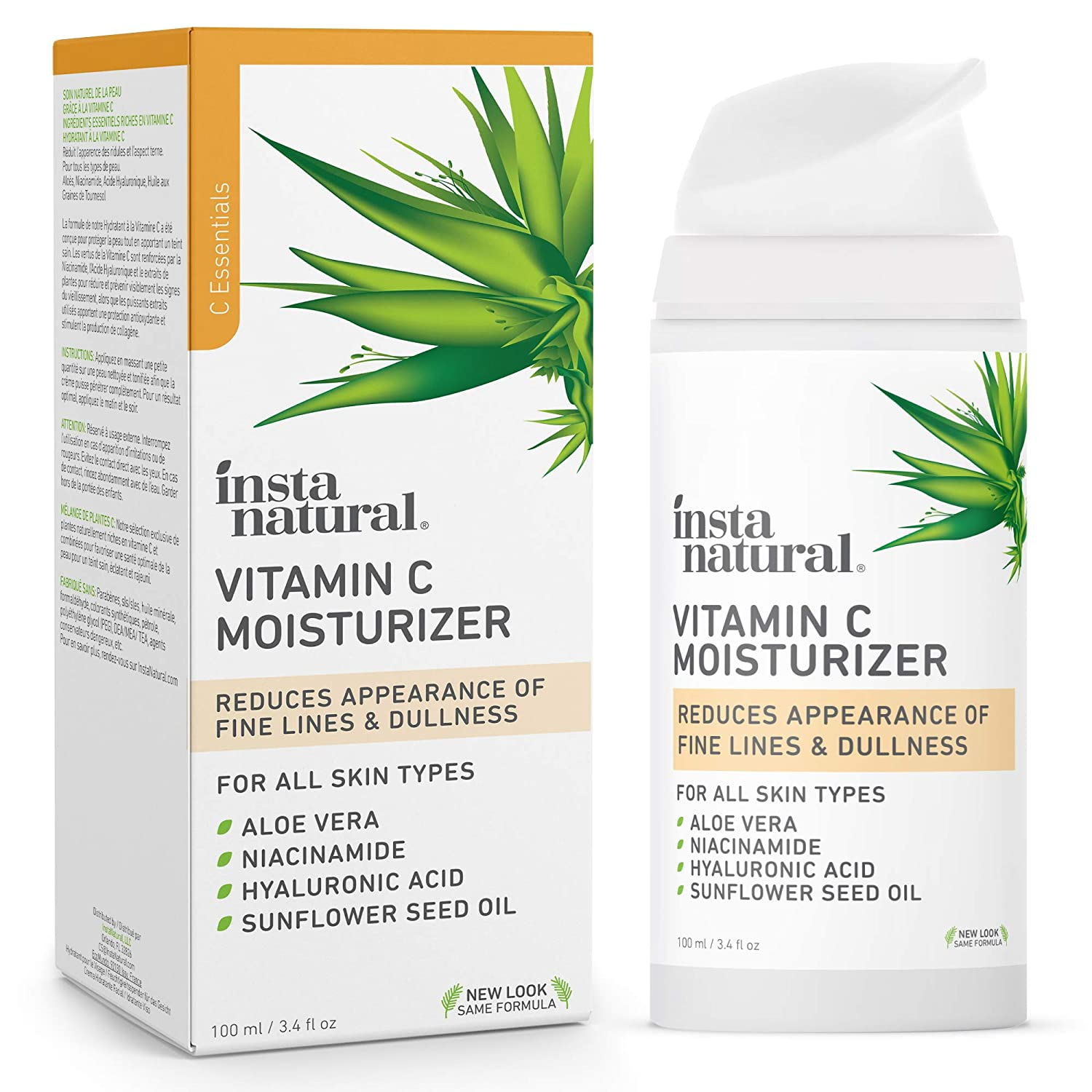 InstaNatural Vitamin C Moisturizer - Anti Aging & Wrinkle Cream - Hyaluronic Acid & Organic Jojoba Oil - Wrinkles, Hyperpigmentation, Acne, & Dark Spot Corrector for Face - Men & Women - 3.4oz: Beauty