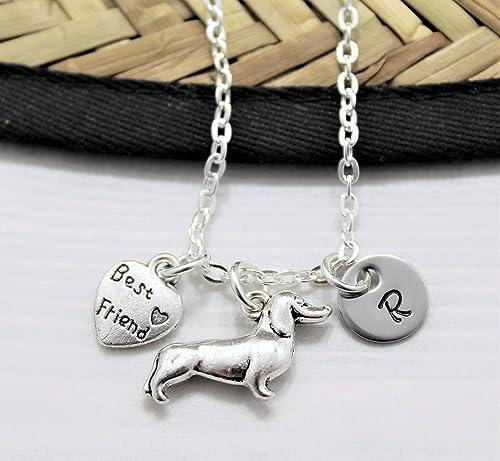 Dog Charm Dachshund Gift Sausage Dog Necklace Initial Necklace Dog Pendant Dachshund Pendant Dachshund Necklace Personalized Necklace