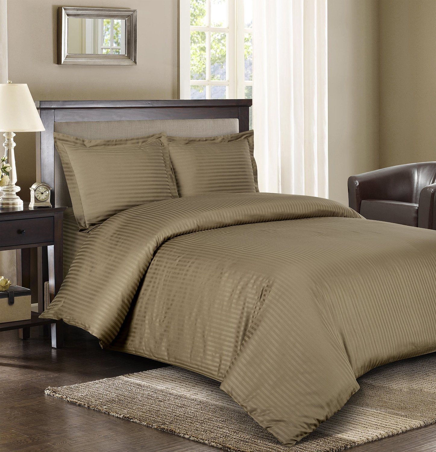 Twin-Extra-Long Duvet-Cover 100-Percent Cotton Royal Hotels Striped Taupe 300-Thread-Count 2pc Twin Sateen Striped 100/% Cotton Royal Hotel Bedding COMIN16JU008102