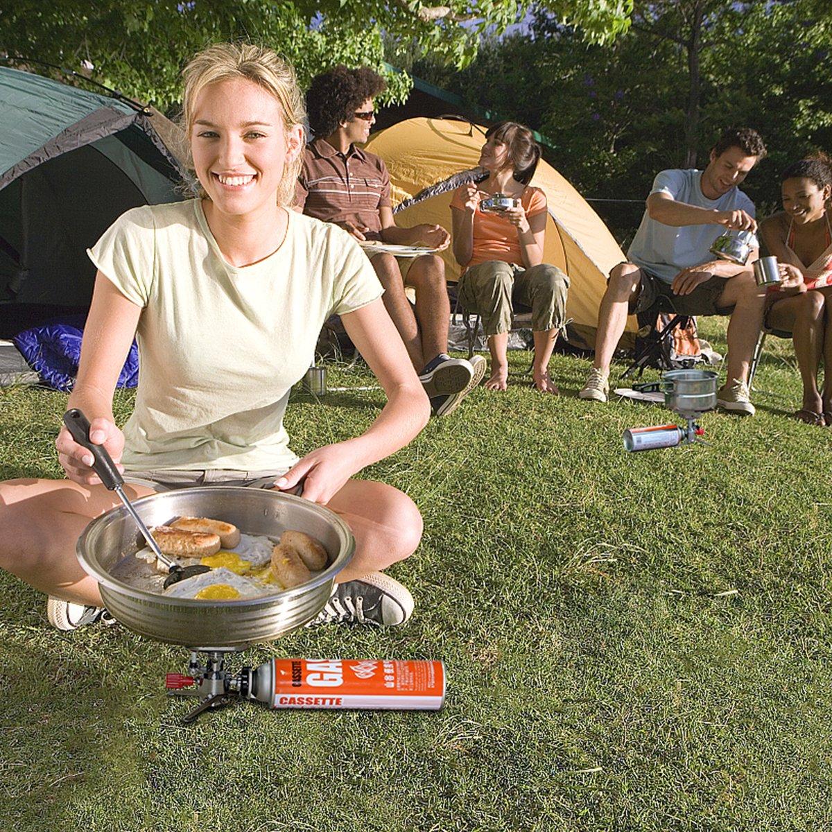 Gas Campingkocher f/ür Wandern Piezoz/ünder Mini Gaskocher Outdoor Aktivit/äten Faltbar und Transportabler OUSPT Campingkocher