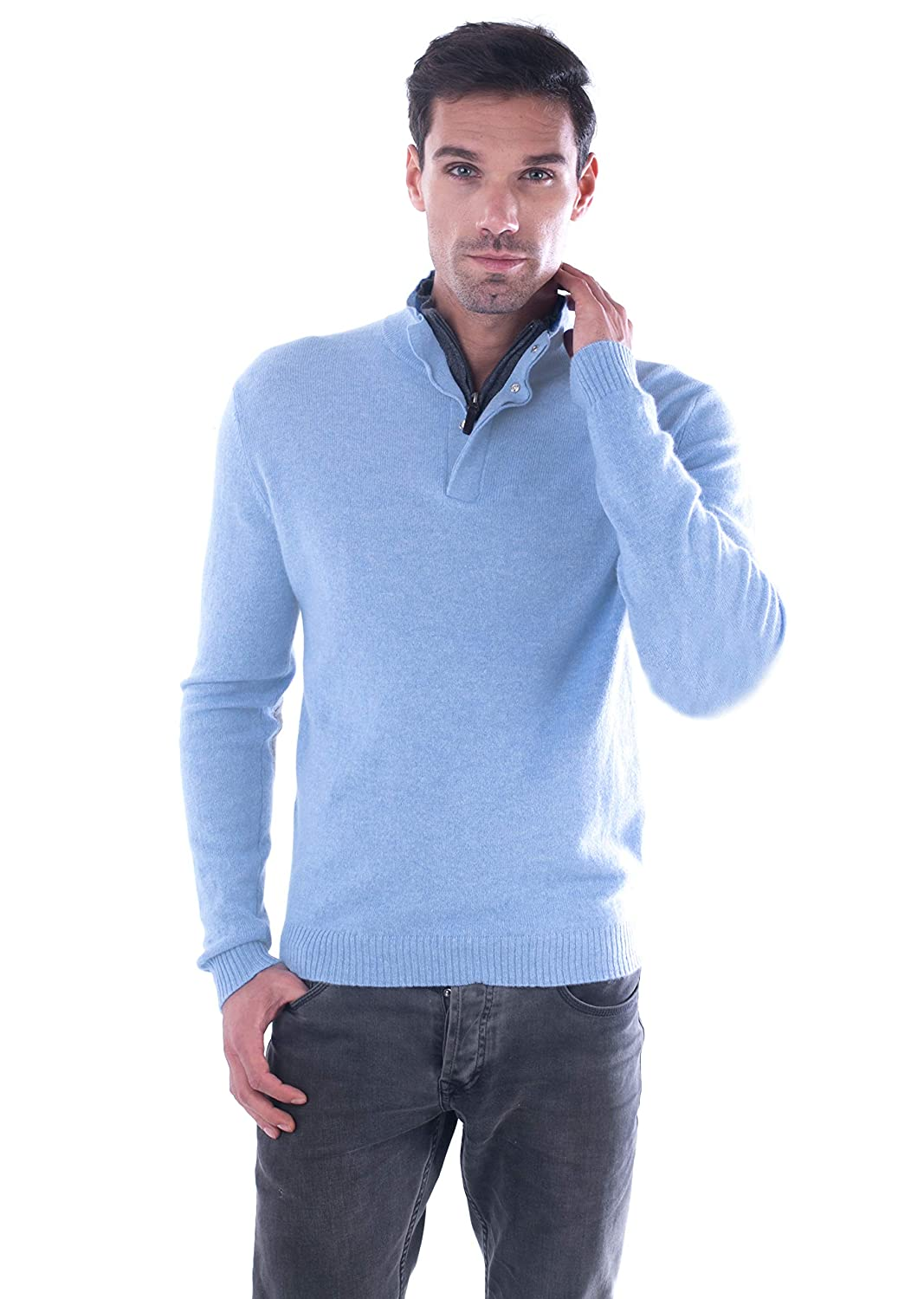 d7380c50b cashmere 4 U Men s 100% Pure Cashmere Pullover Half Zip Mock Neck Sweater  at Amazon Men s Clothing store