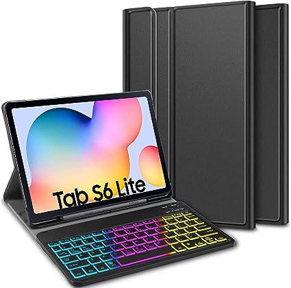ELTD Funda con Teclado Español Ñ para Samsung Galaxy Tab S6 Lite 10.4, Teclado inalámbrico 7 Colores Cubierta de Teclado retroiluminada de Tres ...