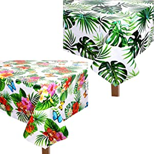 2 Pieces 51.2 x 86.6 Inch Hibiscus Butterfly Table Cover Monstera Leaf Tablecloth Palm Leaves Table Cover Hawaiian Luau Tablecloth Tropical Rectangular Table Cover for Spring Summer Dining Room Decor