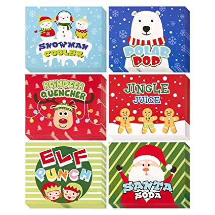 amazon com 36 pack of christmas soda bottle labels soda label