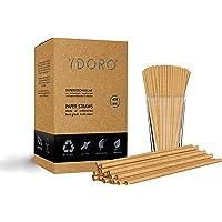 Ydoro | Kraft-papieren rietjes 400 stuks | Eco-vriendelijke rietjes Value Pack | 100% biologisch afbreekbaar, inkt-vrij…