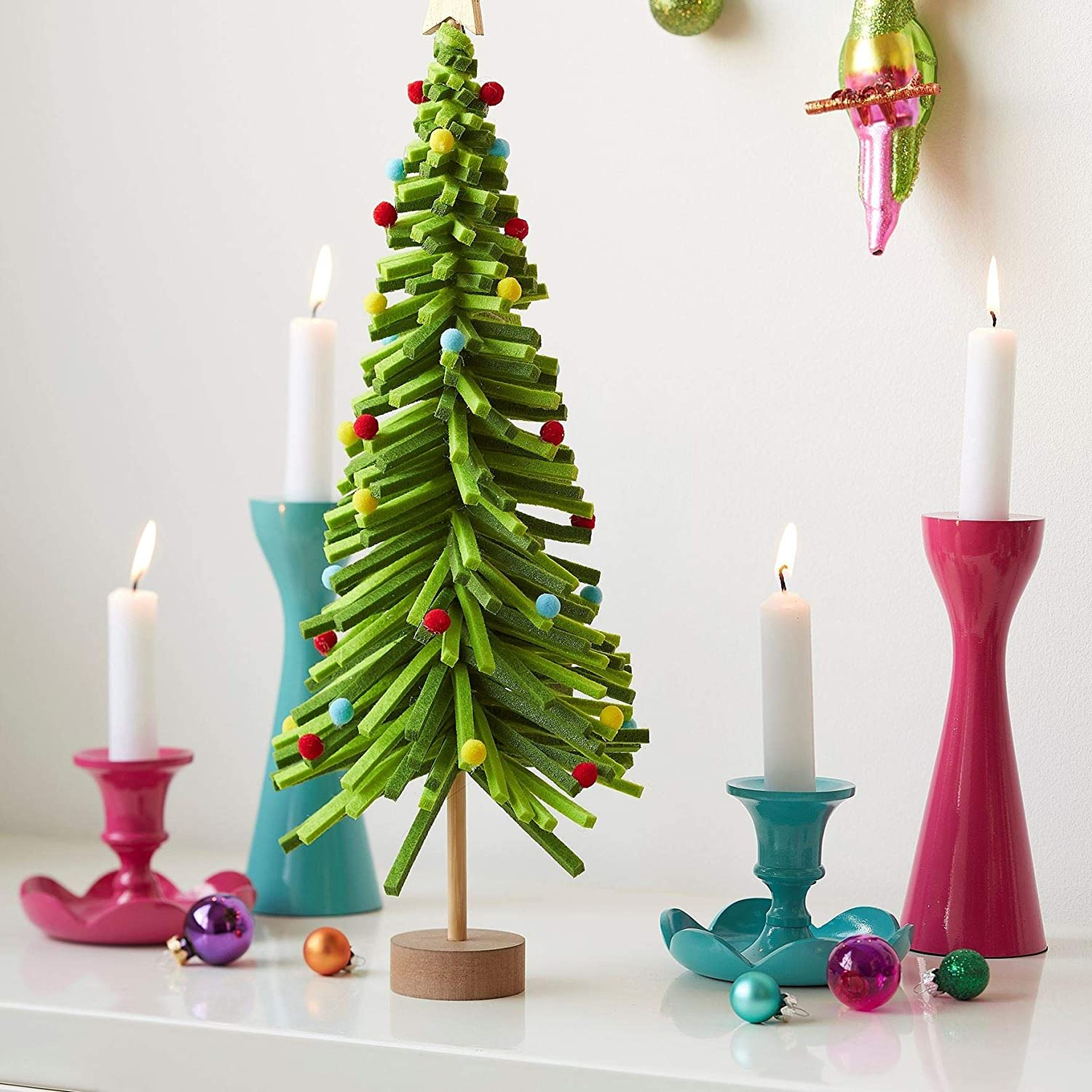 Bright Pink Modern Candlestick By Gisela Graham