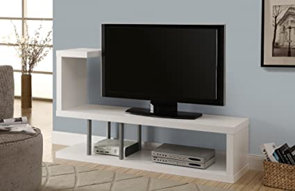 Amazon Com Monarch Hollow Core Tv Stand 60 Inch White Kitchen