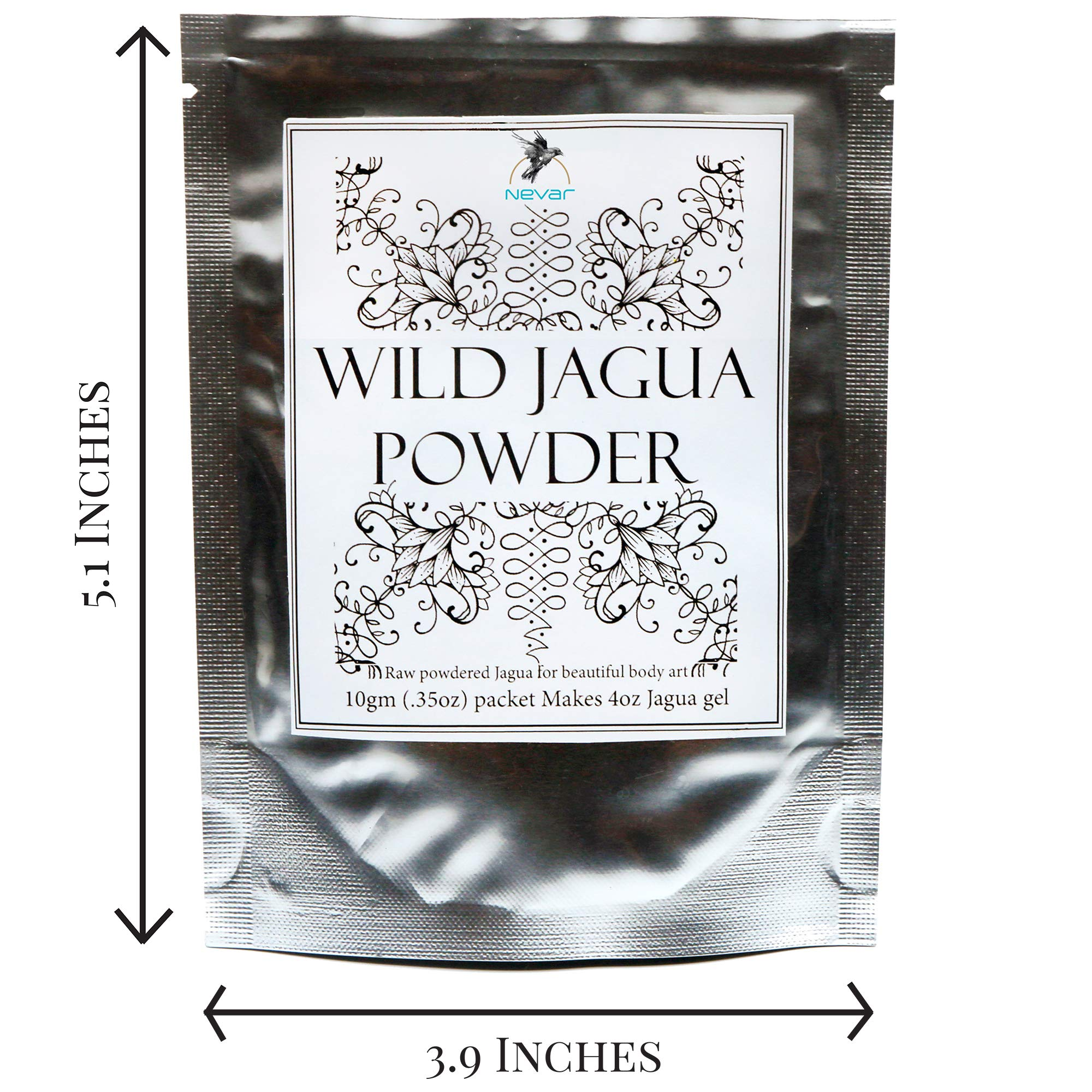 Premium Raw Jagua (Genipa americana extract) Powder-Mix. Makes 4oz Black Gel Ink for Henna-Style Temporary Tattoos. Pure 100% Natural Botanical Ingredients. Vegan. No Chemicals. Safe to Use. by NEVAR