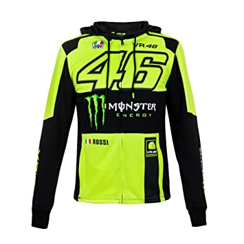 dedd9c19c87 Sweat zippé à capuche VR46 - Valentino Rossi - Avec sponsor Monster Energy  - MotoGP 2018