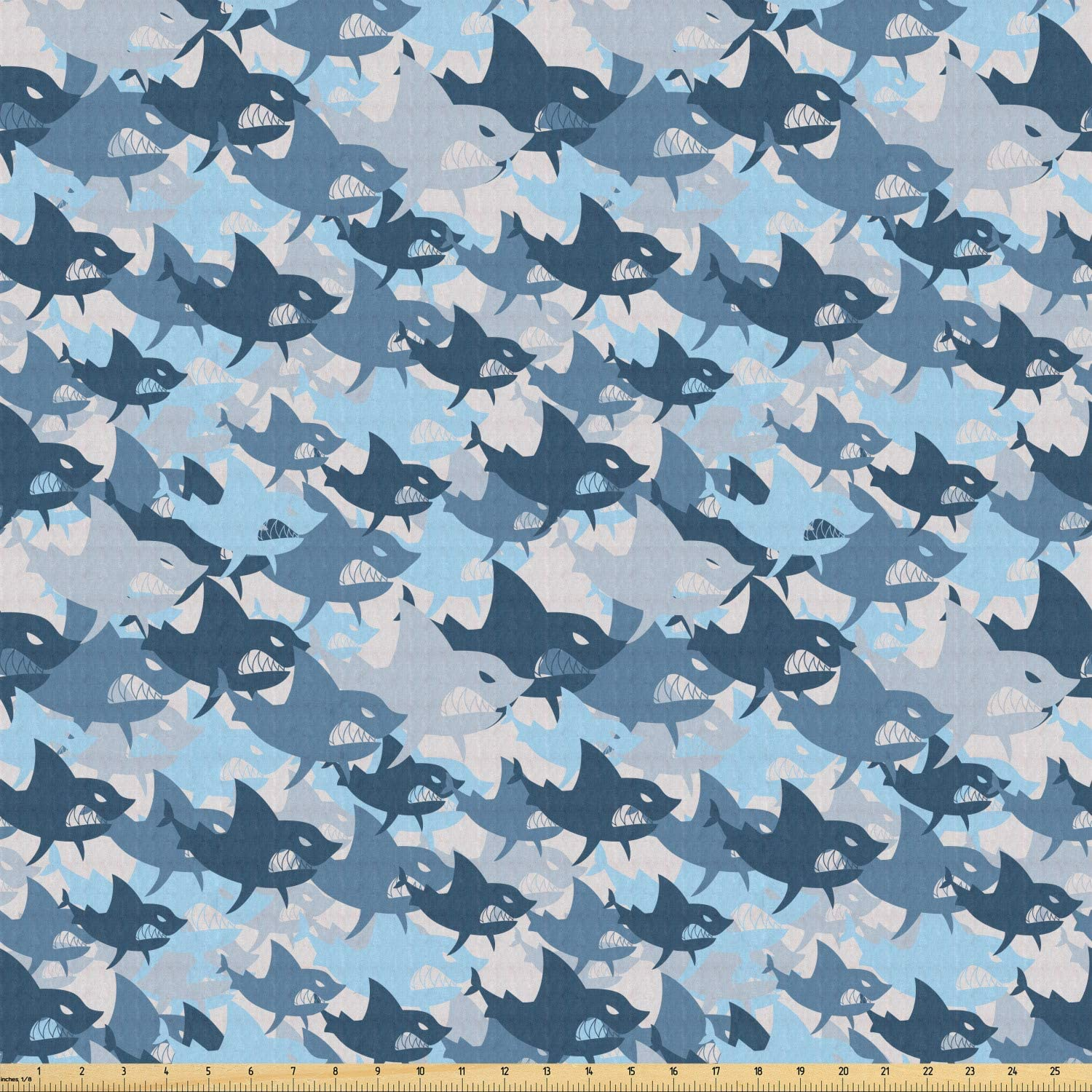 Lunarable Sea Animals Fabric by The Yard, Camouflage Pattern with Aggressive Shark Fishes Scary Marine Predators, Stretch Knit Fabric for Clothing Sewing and Arts Crafts, 1 Yard, Blue Grey