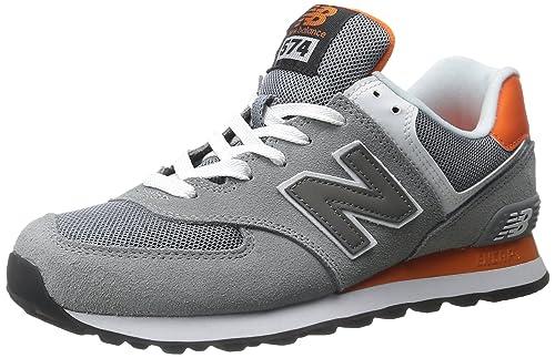 new balance gris con naranja