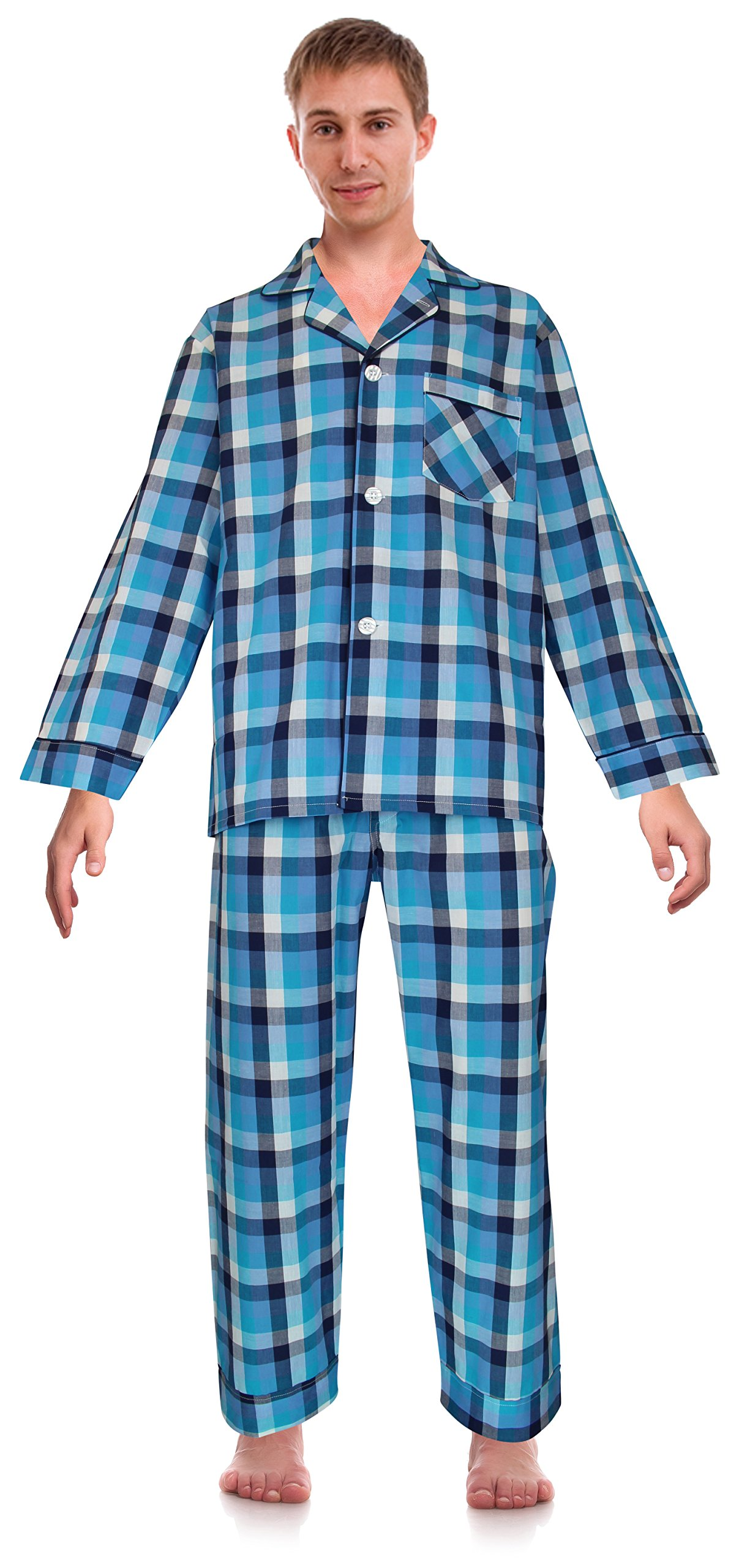 Robes King RK Classical Sleepwear Mens Broadcloth Woven Pajama Set, Size Large, Turquoise Blue, Check (0173)