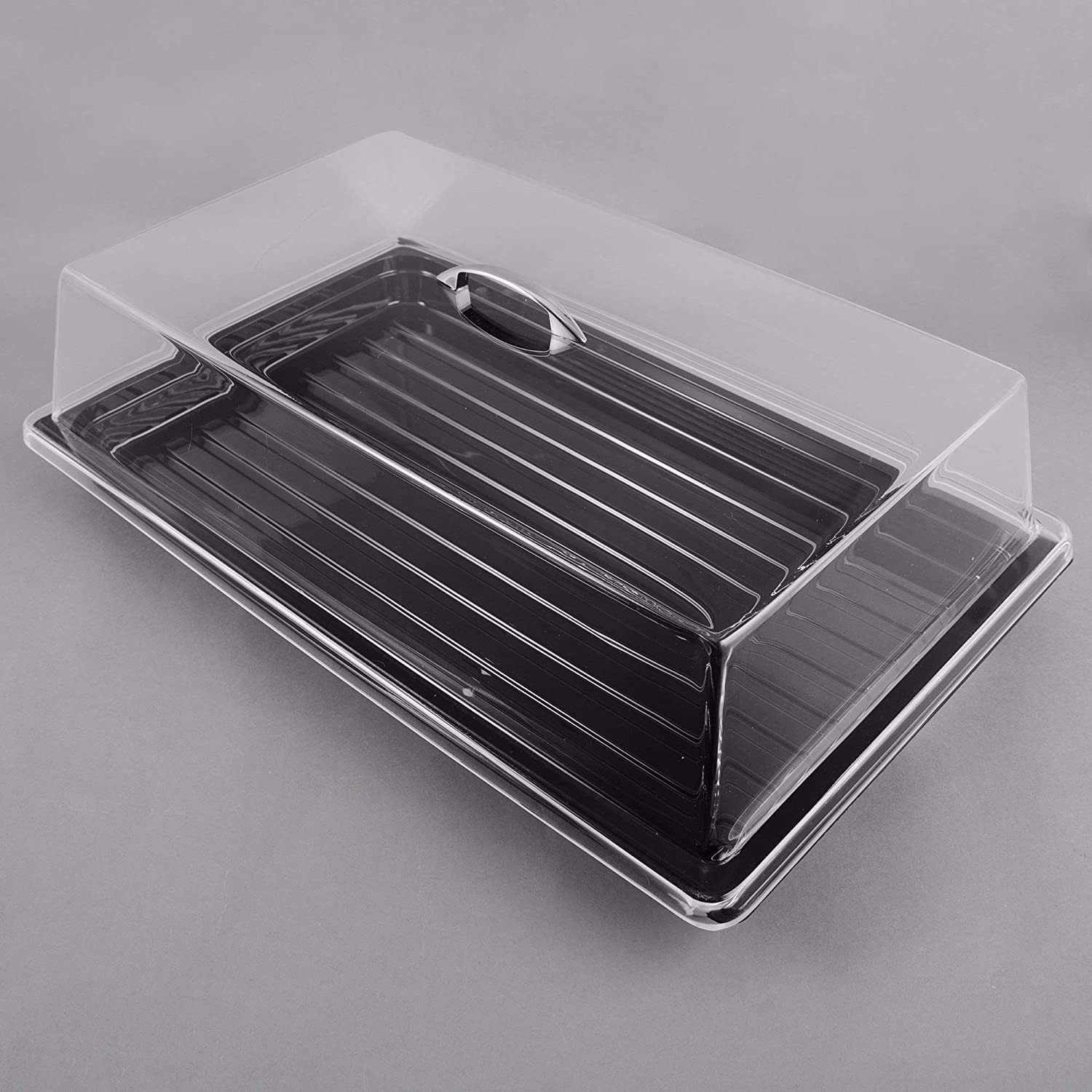 Sample and Display Tray Kit with Black Polycarbonate Tray and Acrylic Rectangular Cover - 12' x 20' By TableTop King