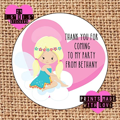 Personalised fairy party bag stickers thank you for coming 24 labels sweet cones labels