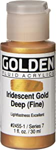 Golden Fluid Acrylic Paint 1 Ounce-Iridescent Gold Deep