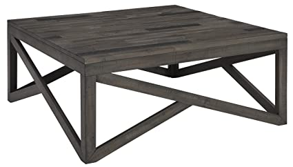 9f802b0382ef2d Ashley Haroflyn Contemporary Gray Square Cocktail Table Rustic Open Design