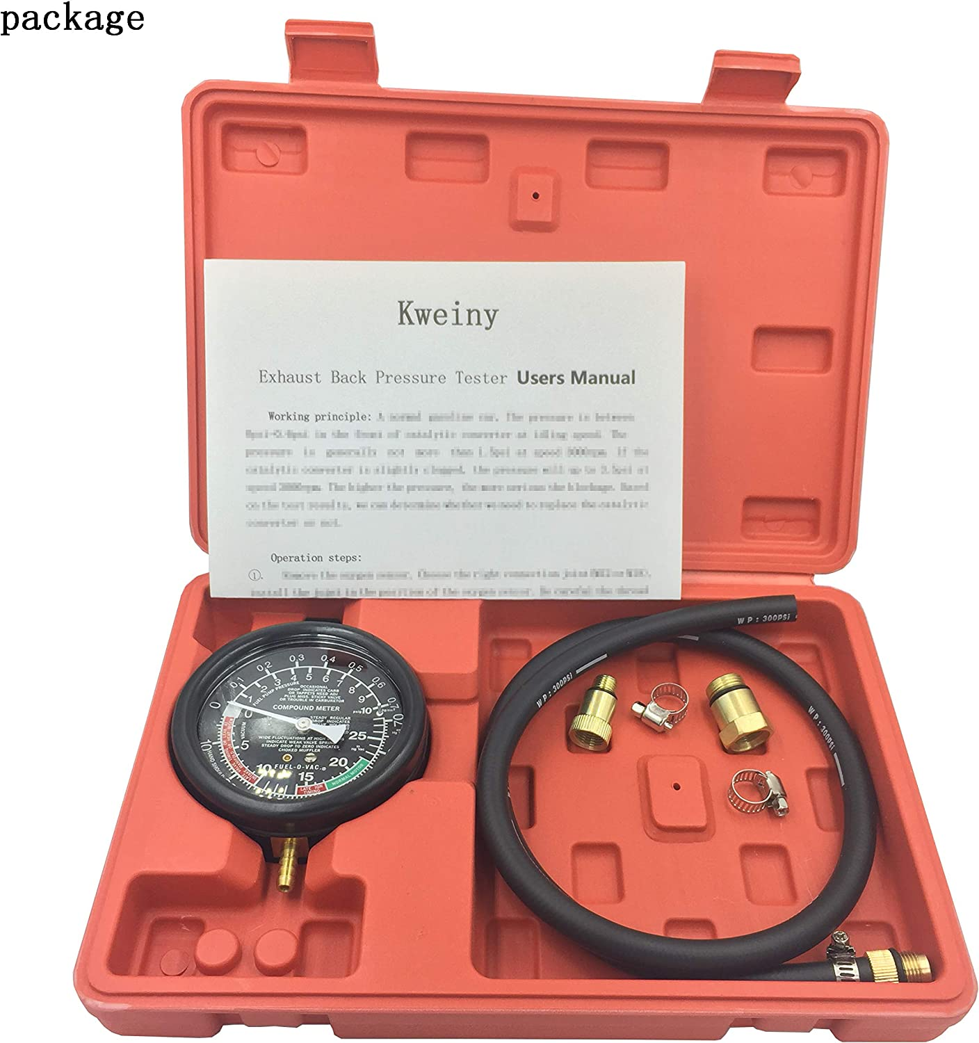 Kweiny Exhaust Back Pressure Tester for Automotive Catalytic Converter Clog Test Gauge