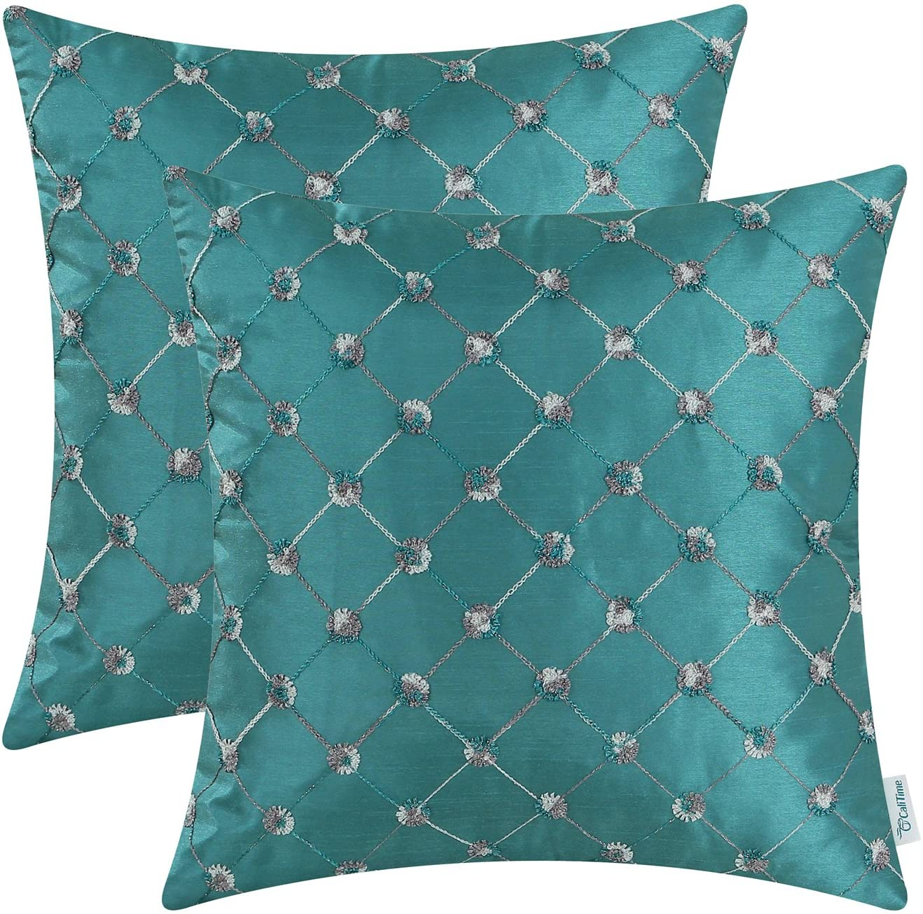 CaliTime Pack of 2 Cushion Covers Throw Pillow Cases Shells for Sofa Couch Home Decoration 20 X 20 Inches Modern Diamonds Shape Geometric Chain Embroidered Teal
