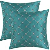 Pack of 2 CaliTime Cushion Covers Throw Pillow Cases Shells for Home Sofa Couch 18 X 18 Inches, Modern Diamonds Shape Geometric Chain Embroidered, Teal