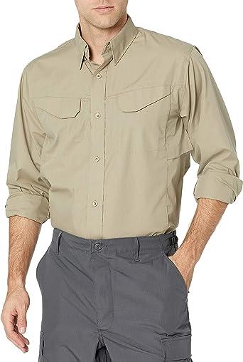 Tru-Spec - Camisa Ligera de Manga Larga para Hombre, Hombre, Manga Larga, S1101, Caqui, L Tall
