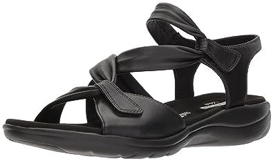 CLARKS Womens Saylie Moon Sandal Black Leather 12 Medium US