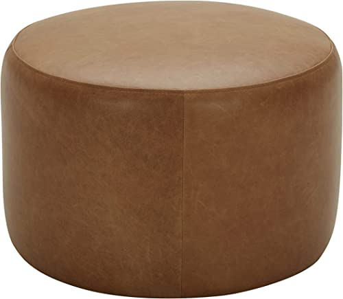 Amazon Brand Rivet Tompkins Contemporary Foam-Padded Leather Ottoman, 24 W, Cognac