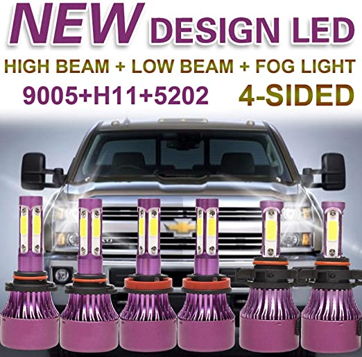 4-sides H11 9005 LED Headlight High Low Beam For Chevy Silverado 1500 2007-2015