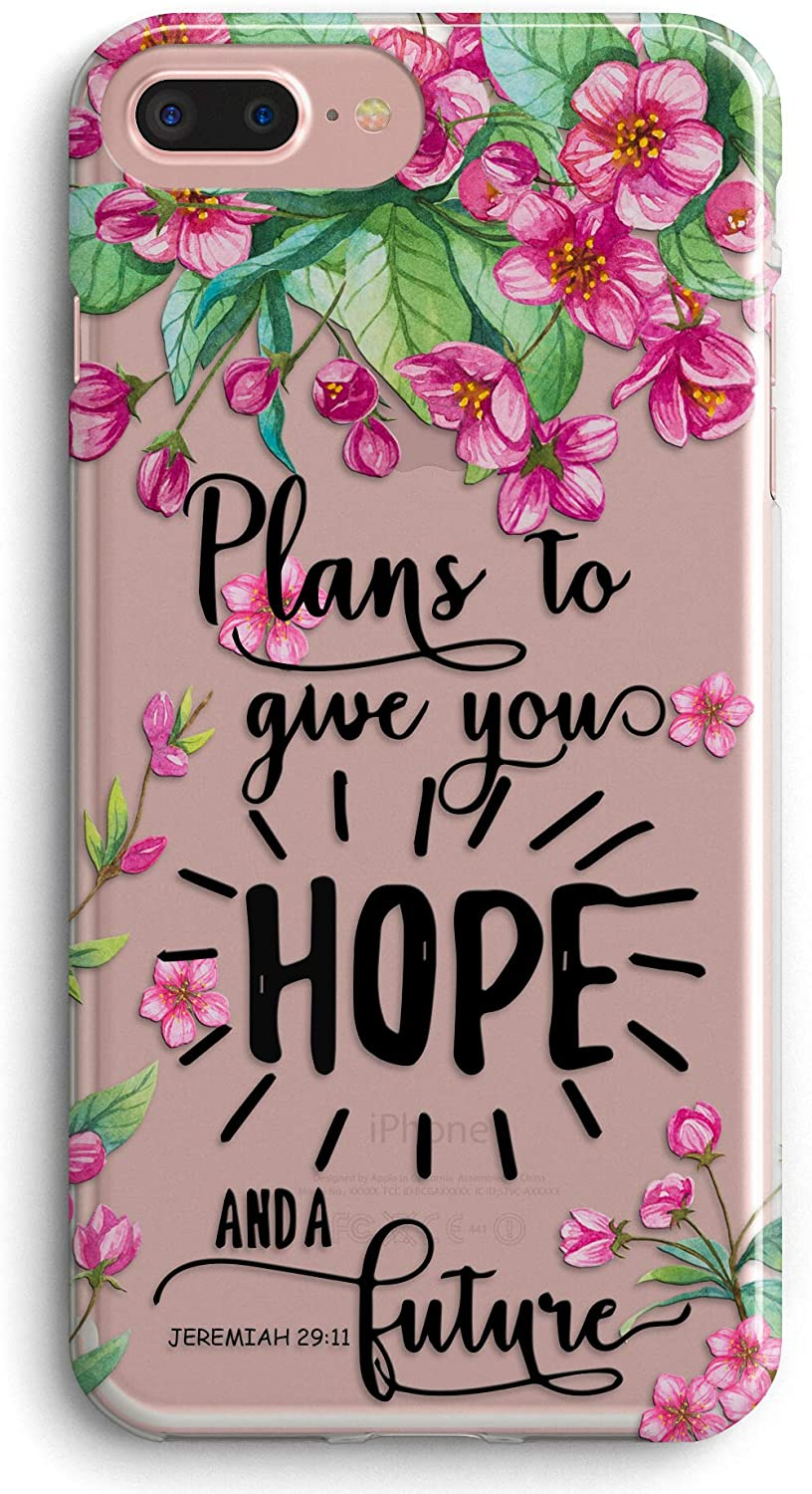 iPhone 7 Plus Case,iPhone 8 Plus Case,Bible Verse Blessed Flowers Floral Inspirational Christian Soft Clear Anti-Scratch Shockproof Bumper TPU Protective Case Cover for Apple iPhone 7/8 Plus