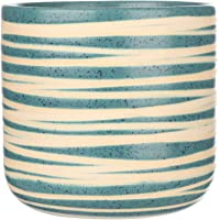 My Green Thumb Handmade Ceramic Planter Pot (Blue with Beige Stripes, 15 x 15cm) - Pack of 1