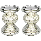 """Runflory S/2 Lit Candle Holder Pedestals, 5.3"""" Handmade Festive Ribbed Mercury Glass Pillar Candle Stand Holder with Micro LED Lights - Home Decor Accessories (Silver)"""